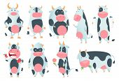 Cow Cartoon. Cute Farm Milk Animal Character In Various Action Poses Vector Funny. Illustration Of F poster
