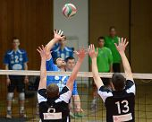 KAPOSVAR, HUNGARY - APRIL 21: Andras Geiger (in blue) in action at a Hungarian National Championship