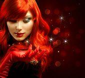 Red Hair. Fashion Girl Portrait . Magic