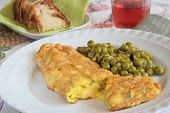 Cheese Omelette With Green Peas, Bread And Wine
