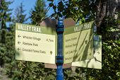 Valley Trail Crossroad Sign In Whistler, British Columbia, Canada In The Summer For Biking, Walking, poster