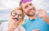 Couple Posing With Party Props Sky Background. Photo Booth Props. Man With Beard And Woman Having Fu poster