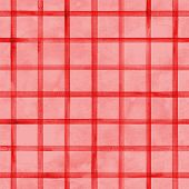 Watercolor Stripe Plaid Seamless Pattern. Red Color Stripes On Red Watercolour Background. Hand Draw poster