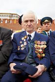 MOSCOW - MAY 9: World War II veteran Irakly Georgievich on Victory Day celebration on Red Square, Ma