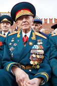 MOSCOW - MAY 9: World War II veteran, a retired general  Linnik V.I. on Victory Day celebration on R