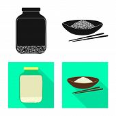Vector Design Of Crop And Ecological Sign. Collection Of Crop And Cooking Stock Vector Illustration. poster