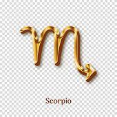 Scorpio Gold Metal Zodiac Sign Isolated On Transparent Background. Luxury Star Sign For Astrology Ho poster