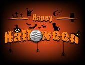 Halloween Pattern. Happy Halloween And Golf Ball On Isolated Background. Atmosphere Halloween. Desig poster