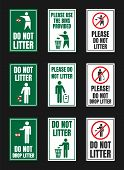 No Littering Vector Igns, Do Not Throw Rubbish Icons poster