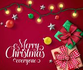 Christmas Vector Banner Template. Merry Christmas Everyone Typography Text In Empty Space With Color poster