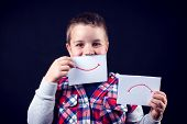 Young Boy Select Between Positive And Negative Expressions. Children And Emotions Concept poster