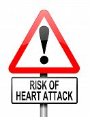 image of coronary arteries  - Illustration depicting a red and white triangular warning sign with a heart attack concept - JPG