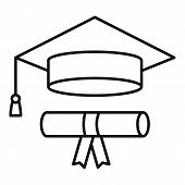 Graduated Hat Diploma Icon. Outline Graduated Hat Diploma Vector Icon For Web Design Isolated On Whi poster