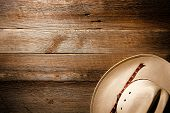 American West Rodeo Cowboy Hat On Wood Background