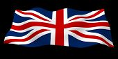 Waving Flag Of The Great Britain On Dark Background. British Flag. United Kingdom Of Great Britain A poster