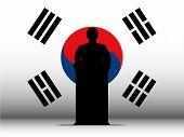 South Korea Speech Tribune Silhouette With Flag Background