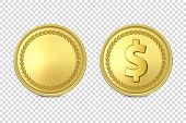 Vector 3d Realistic Golden Metal Coin Icon Set, Blank And With Dollar Sign, Closeup Isolated On Tran poster
