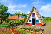 Old Traditional Houses In Santana, Madeira Island, Portugal. Wooden, Small, Triangular And Colorful  poster