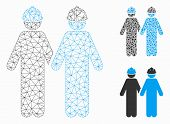 Mesh Workers Model With Triangle Mosaic Icon. Wire Frame Polygonal Mesh Of Workers. Vector Mosaic Of poster