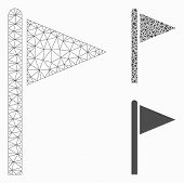 Mesh Triangle Flag Pointer Model With Triangle Mosaic Icon. Wire Frame Triangular Network Of Triangl poster