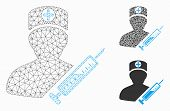 Mesh Medic Model With Triangle Mosaic Icon. Wire Frame Polygonal Mesh Of Medic. Vector Mosaic Of Tri poster