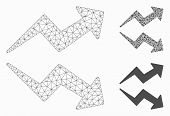 Mesh Trends Model With Triangle Mosaic Icon. Wire Frame Triangular Mesh Of Trends. Vector Mosaic Of  poster