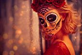 Sugar skull girl. Day of The Dead. Dia de los muertos. Charming and dangerous Calavera Catrina in an poster