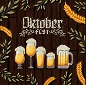 Oktober Fest Design With Beer Mugs With Decorative Leaves And Wheat Ears Over Dark Wooden Background poster