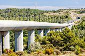railway viaduct for TGV train near Vernegues, Provence, France