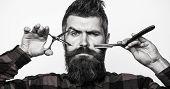 Barber Scissors. Mens Haircut. Man In Barbershop. Bearded Man, Lush Beard, Handsome. Hipster, Brutal poster
