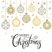 Christmas Card Or Banner. Hanging Christmas Balls Of Garlands And Stars. Congratulatory Text. Christ poster