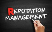 Reputation Management Text On Blackboard, Business Concept Background poster