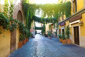Old Street In Trastevere, Rome, Italy. Cozy Old Street In Trastevere Neighborhood Of Rome, Typical A poster