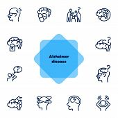 Alzheimer Disease Line Icon Set. Brain, Bad Memory, Pills. Health Concept. Can Be Used For Topics Li poster