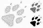Mesh Wolf Footprint Model With Triangle Mosaic Icon. Wire Carcass Polygonal Mesh Of Wolf Footprint.  poster