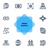 Global Business Icon Set. Line Icons Collection On White Background. Meeting, Success, Trade. Econom poster