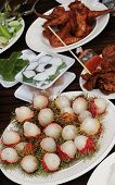 picture of thai cuisine  - Table of Thai food including rumbutan tropical fruit - JPG