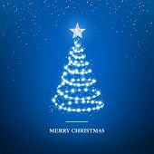 Merry Christmas Greeting Card Template. Garland In Form Of Christmas Tree With Star On Blue Backgrou poster