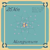 Periodic Table Element. Manganum Colorful Icon. Vector. poster