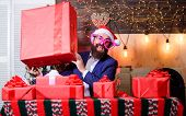 Size Matters. Man Santa Claus Hat Carry Big Gift Box. Biggest Gift For Christmas. Celebrate Christma poster