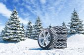 Snow Tires On Winter Landscape Background 3d Render poster