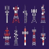 Radio Masts And Telecommunication Towers And Satellite Signal Antenna Transmitters, Vector Icons. Di poster