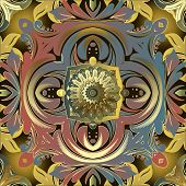 Vintage Baroque Style Colorful Vector Seamless Pattern. Ornamental Floral Modern Background. Beautif poster