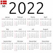 Simple Annual 2022 Year Wall Calendar. Danish Language. Week Starts On Sunday. Sunday Highlighted. N poster