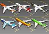 Isometric airplanes in six livery.
