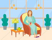 Woman Wearing Bathrobe And Slippers Drinking Tea, Client In Beauty Salon. Female Character Sitting I poster
