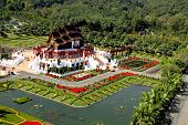 pic of exposition  - Ho kham luang in the international horticultural exposition the northern thai style building of Chiang mai Thailand - JPG