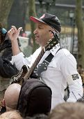 NEW YORK - MAY 1: Rage Against The Machine guitarist Tom Morello speaks to the Occupy Guitarmy group