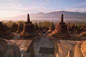 stock photo of arjuna  - Borobudur Temple Morning  Sunrise in Yogyakarta - JPG