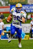 VIENNA, AUSTRIA - APRIL 16 WR Wolfrum Hofbauer (#80 Giants) runs with the ball on April 16, 2011 in